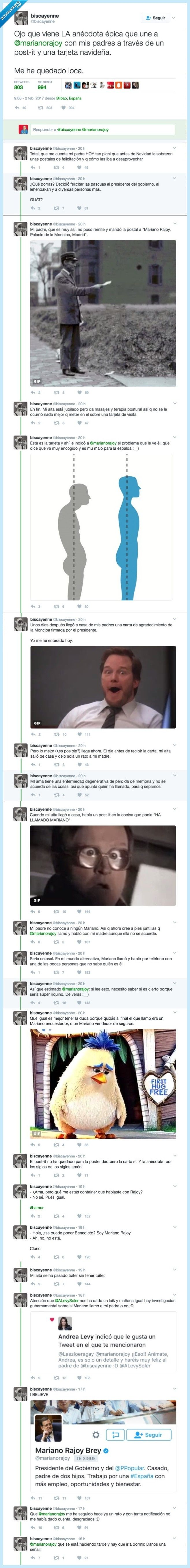 Rajoy es protagonista de esta historia tan LOCA que está petándolo en Twitter por @biscayenne   Gracias a http://www.vistoenlasredes.com/   Si quieres leer la noticia completa visita: http://www.skylight-imagen.com/rajoy-es-protagonista-de-esta-historia-tan-loca-que-esta-petandolo-en-twitter-por-biscayenne/