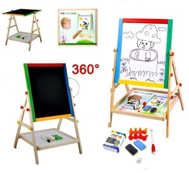 Kids Drawing Board Wooden Double Side Easel Stand & Shelf Art Set Learn Activity #KidsDrawingBoard