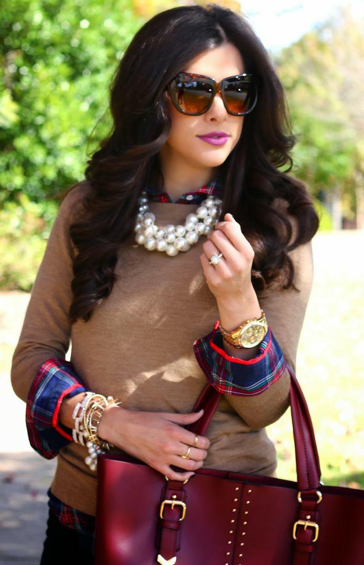 big pearl necklace, zara pearls, oversized pearl necklace, jcrew, jcrew factory sweater, plaid, tartan, aldo, keirnan, jbrand, jbrand jeans,...