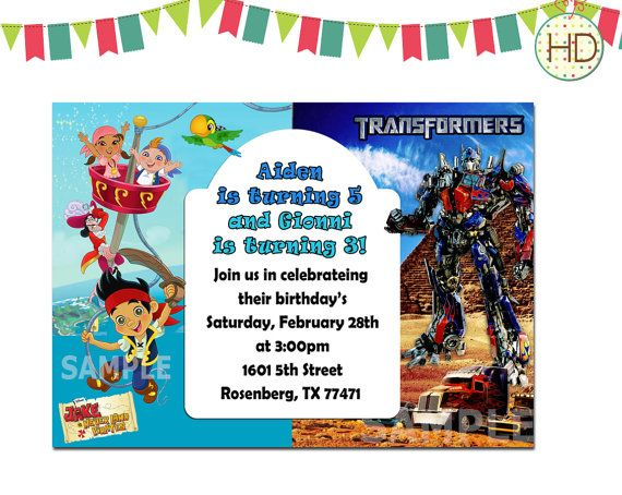 81 best Joint Birthday Invitation Split Invitations Twin – Twin Birthday Invitation