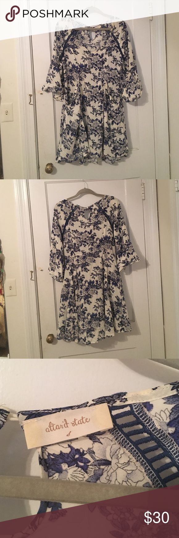 3/4 Sleeve Dress Blue and white flower pattern dress with pockets and bell sleeves Altar'd State Dresses Mini