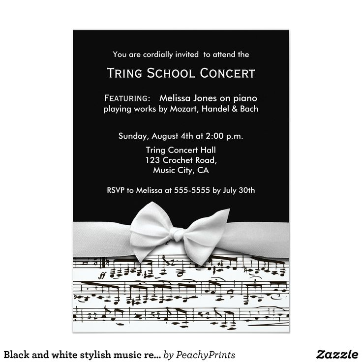 24 best music recital images on pinterest piano recital black and white stylish music recital invitation thecheapjerseys Image collections