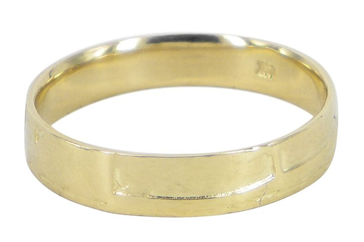 Deco wedding band in 14ct yellow gold