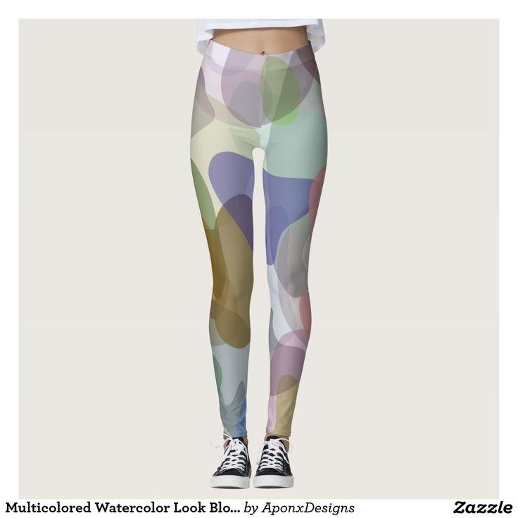 Multicolored Watercolor Look Blob Pattern Leggings