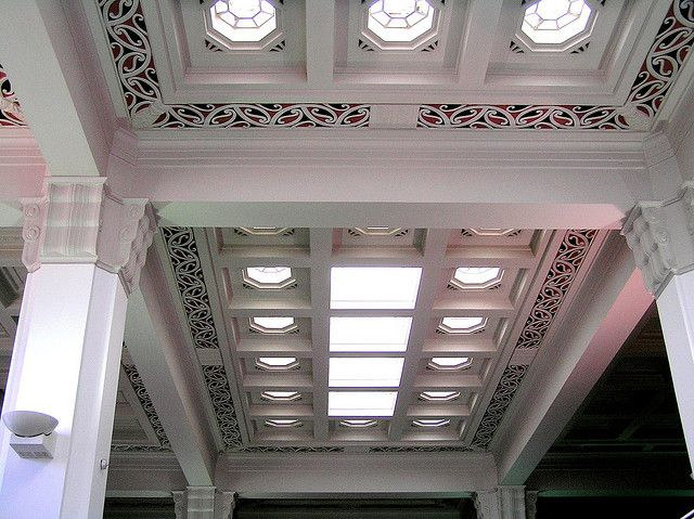 Former Bank of New Zealand building with unique incorporation of Maori styles including kowhaiwhai (rafter) patterns into the deco style