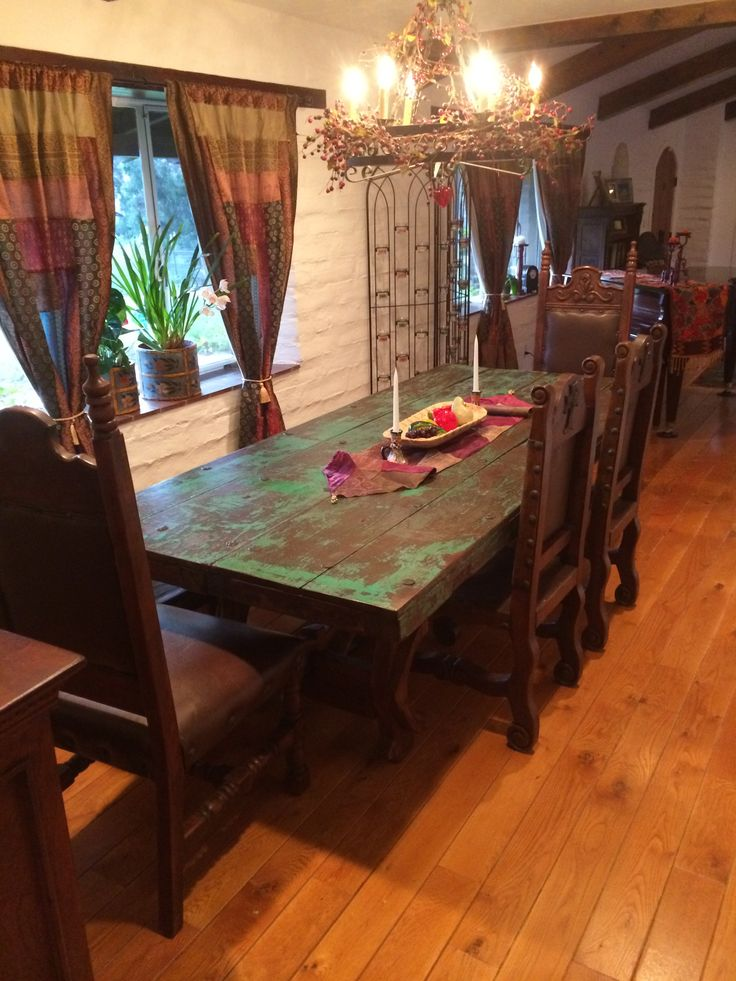 Antique Mexican Door Dining Table Mesquite Wood With Original Green Paint  Patina