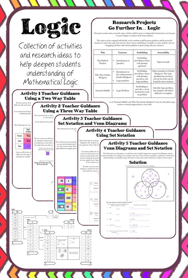 A pack of resources aimed at helping students to understand mathematical logic. Research ideas and puzzles, five activities to help students use Venn Diagrams and Two Way Tables and three starters covering basics for students aged 11 to 12. Keywords included.