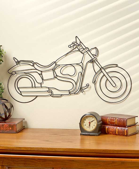 Motorcycle Wall Sculpture Art Hanging Large Black Metal Gift