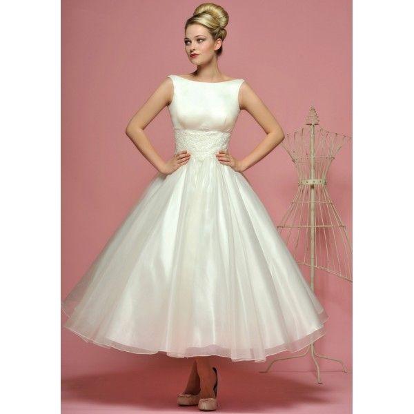 Vintage Boat Neck Sleevless Tea Length Wedding Dress - Star Bridal Apparel by gloriabtobin