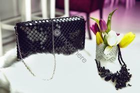 Accesorii dama Plic tip geanta black cu strasuri C 175-3b