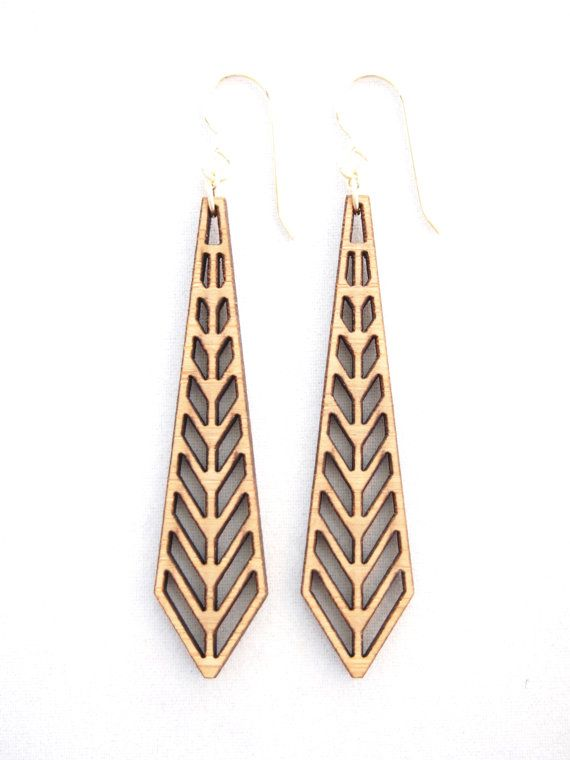 Chevron Laser Cut Earrings by foliadesignsf on Etsy, $46.00