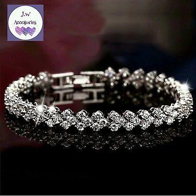 925 Sterling Silver Cubic Zircon Roman Chain Bracelet