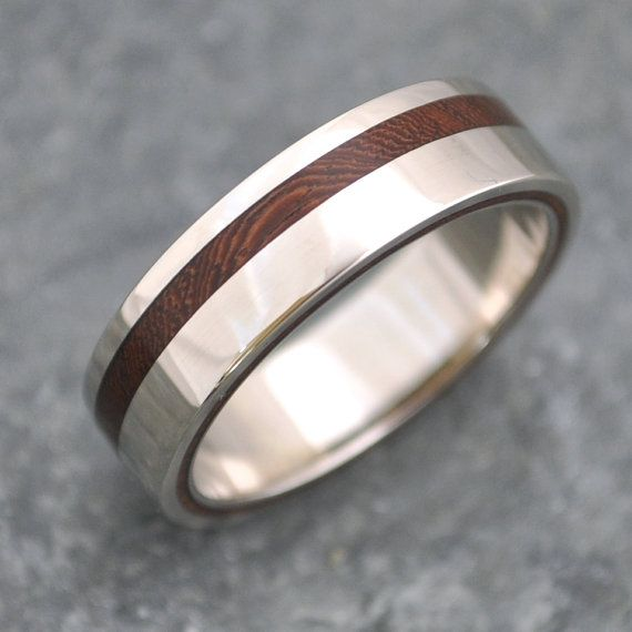 Equinox Nacascolo Wood and Reycled Sterling Ring.  An offset stripe of Nacascolo wood between bold sterling stripes. This unique design and