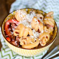 Creamy Cajun Pasta with Peppers and Smoked Sausage- This had a really good, mild flavor.  I simplified it alittle.  I boiled the pasta (I used Radiatore) and didn't put in the diced tomatoes because I was out. The family ate every bite of it and it made a lot, so I'd say SUCCESS!!