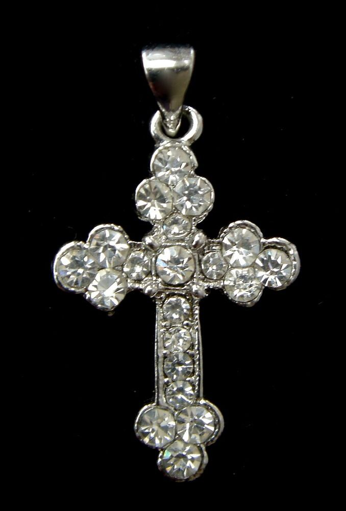 Vintage Art Deco Style Czech Glass Pendant Crucifix Cross Silver Tone #Pendant