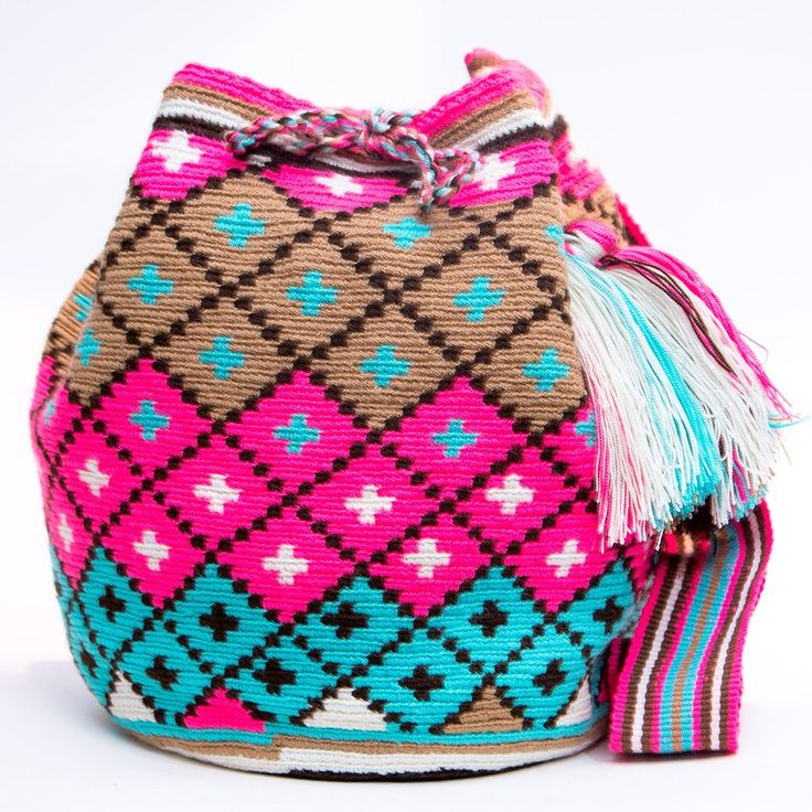 Cabo Wayuu Mochila bags are intricate in their designs, can take approximately 18 -20 days to weave. Hand Woven Strap using woven one thread. Handmade in South America by the indigenous Wayuu people.