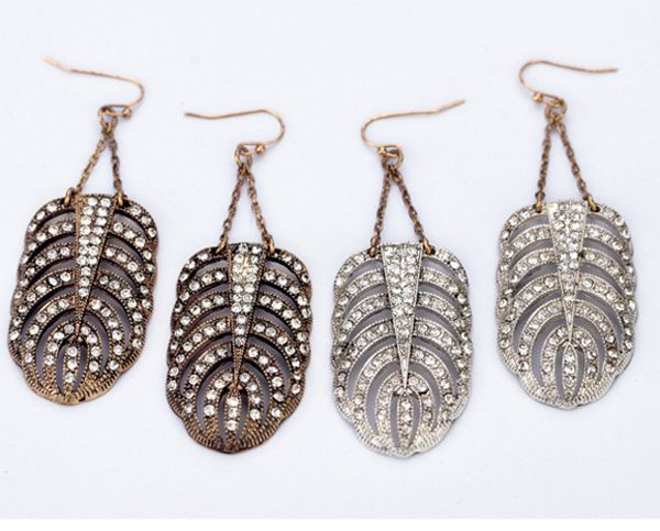 Crystal Feather Earrings