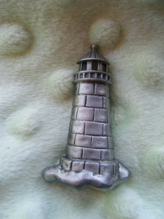 Vintage Lighthouse Brooch Pewter by gammiannes on Etsy, $15.00