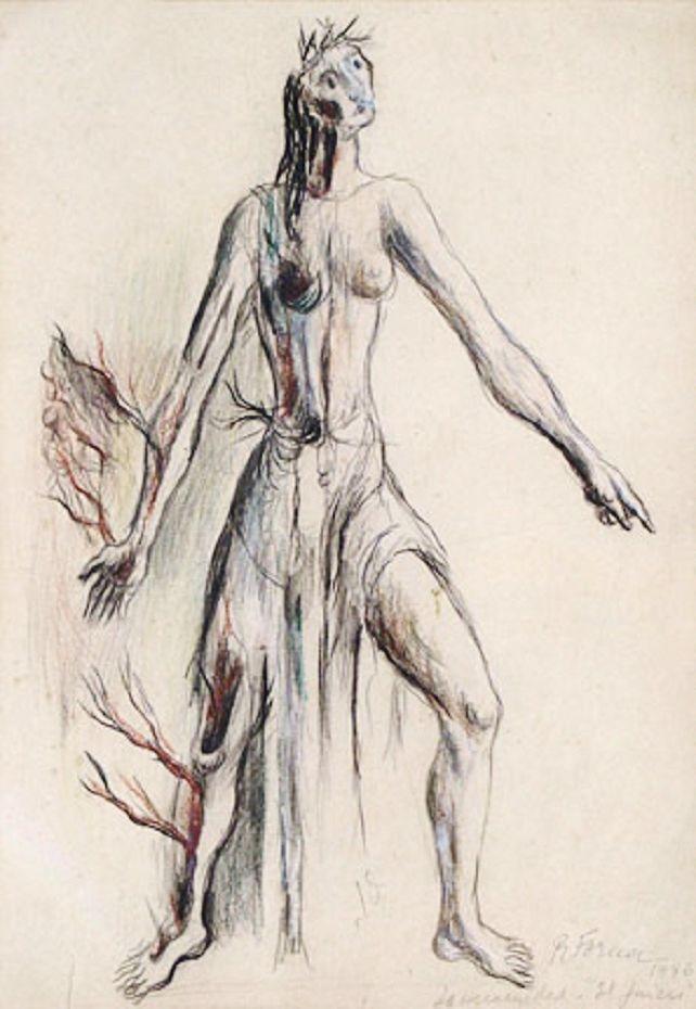 """Estudio para """"La humanidad"""" de El juicio (1946) Raquel Forner"""