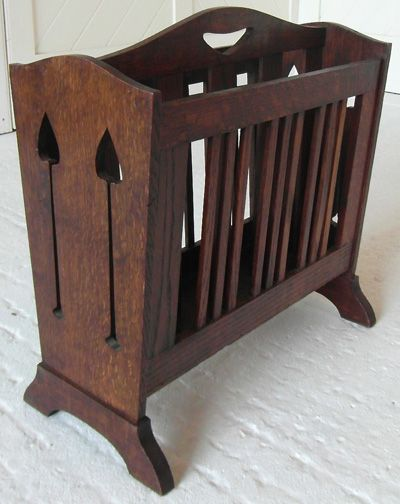 Liberty & Co. Arts & Crafts magazine rack while human size it is an inspiration! Could be fun to upgrade some horrid Concord miniature