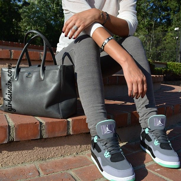girls-wearing-jordans-and-air-max-kicks-green-glow-outfit: Girls Wear