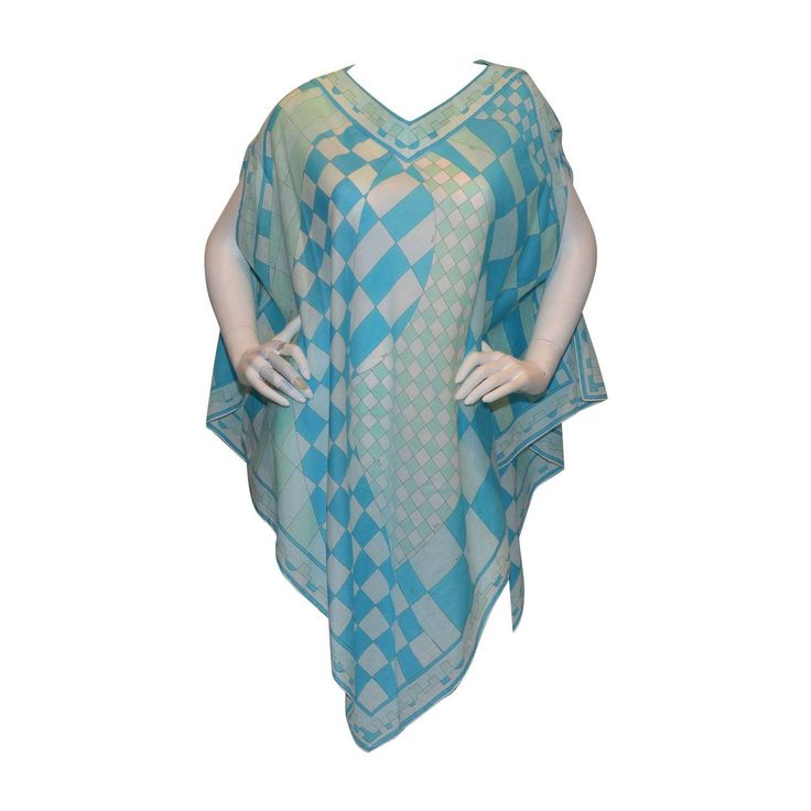 vintage emilio pucci advertisement | Emilio Pucci Vintage Blue Geometric Print Poncho For Sale at 1stdibs