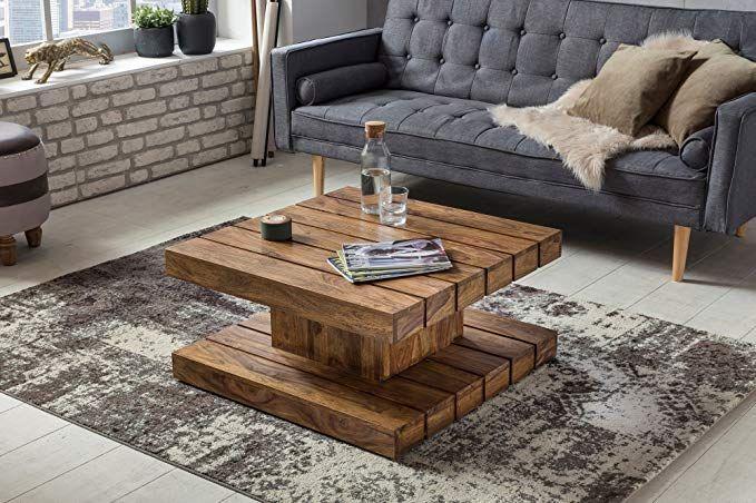 Finebuy Sheesham Couchtisch Lodi Massiv Holz 80 X 80 X 40 Cm