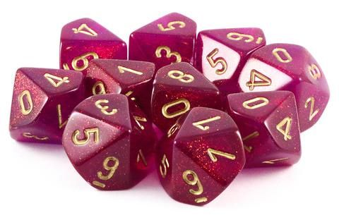 Need more dice? Borealis D10 Dice (Magenta) will keep you rolling! Each set has 10 ten-sided dice for your next RPG adventure. The Borealis D10 is cast in a semi-translucent magenta and filled with ir