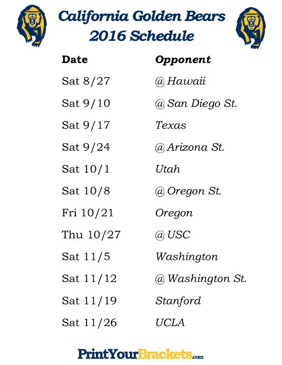 Printable California Gloden Bears Football Schedule 2016
