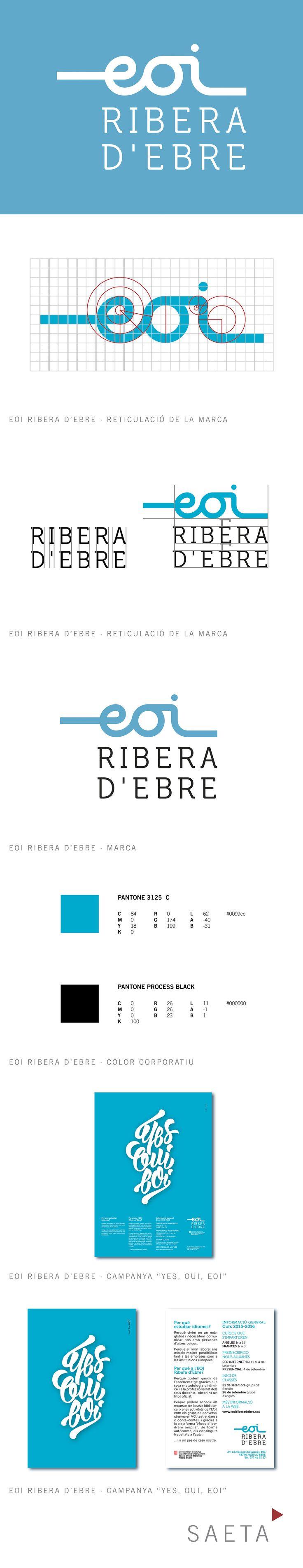 Nueva identidad corporativa de la EOI Ribera d'Ebre. Detalles del manual corporativo y piezas de la campaña de idiomas.