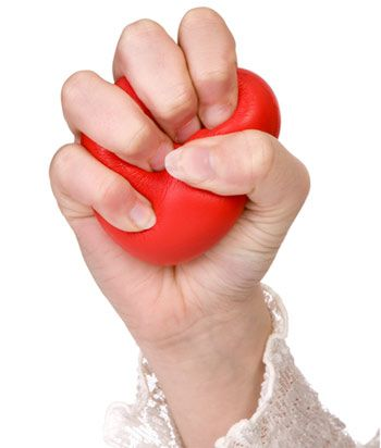Rubber Band And Ball Squeeze Exercise: Extend the rubber band or squeeze the ball with your elbow bent sideways.