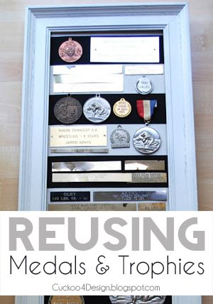 Reusing old medals and trophies in a collage to display all your accomplishments
