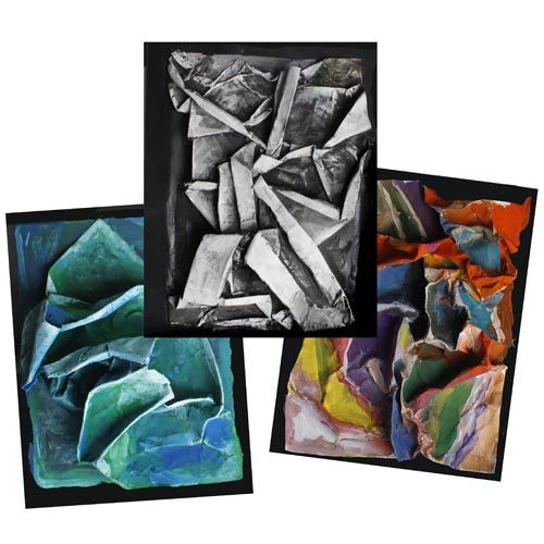Easy Abstract Paper Relief - Learn to make an easy paper relief sculpture/painting with just 2 pieces of paper. An original United Art & Education project. Difficulty: easy - ideal for elementary school and up.
