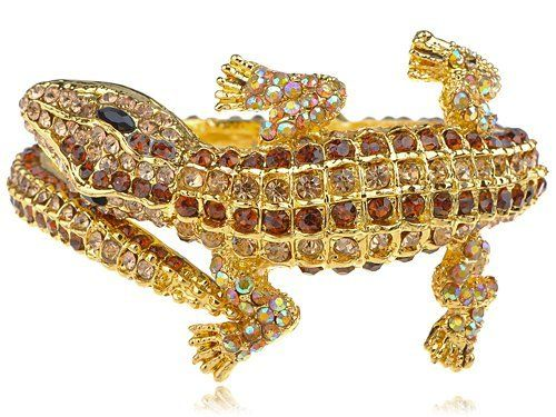 Golden Metal Topaz Crystal Rhinestone Crocodile Alligator Bracelet Bangle Cuff Alilang. $18.99