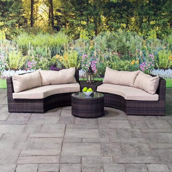 Belize Crescent Deep Seating Patio Chat Set Deep Seating Patio