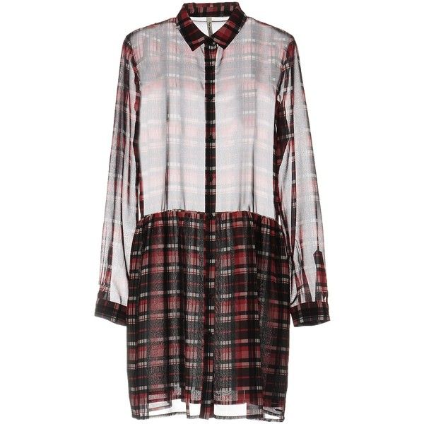 Pepe Jeans Short Dress ($64) ❤ liked on Polyvore featuring dresses, red, short dresses, long sleeve plaid dress, long-sleeve mini dress, plaid shirt dresses and red long sleeve dress