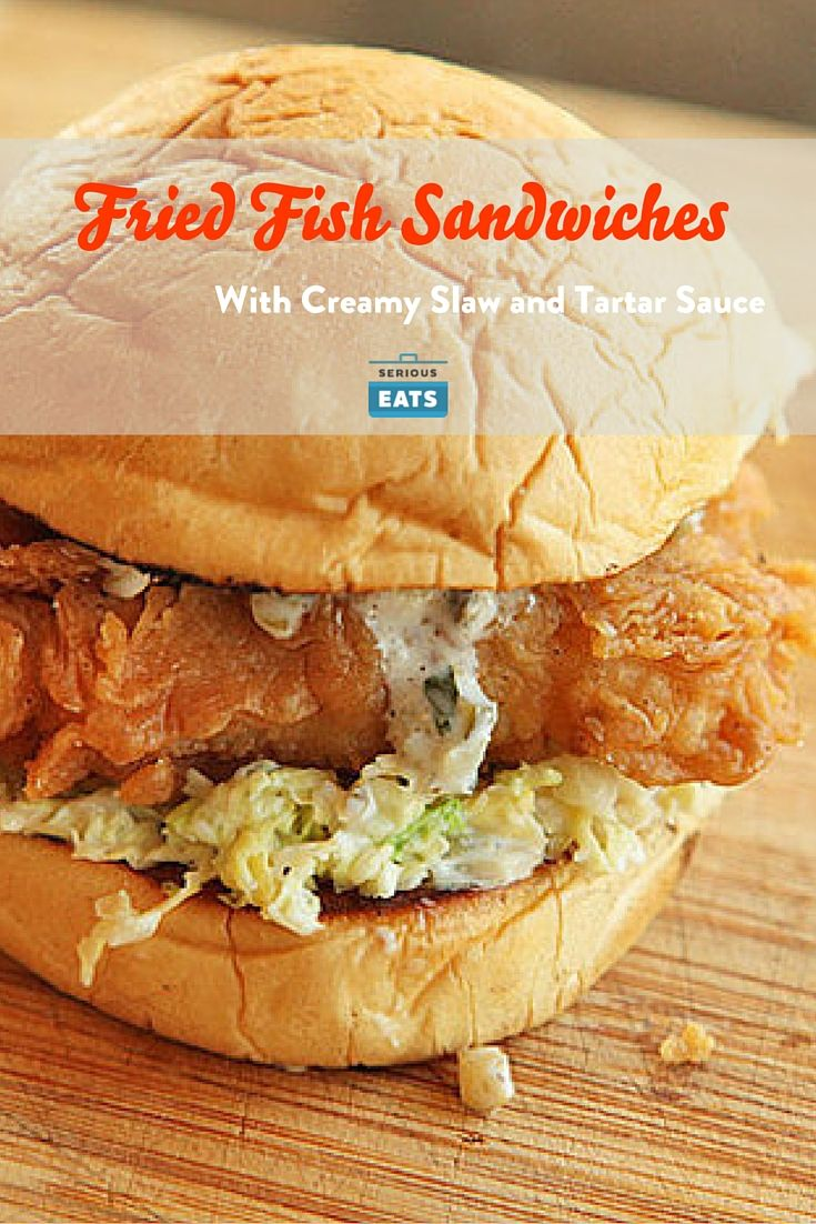 To serve, place a small pile of slaw on the bottom half of each bun. Top with a piece of fish and a dollop of tartar sauce. Close buns. Serve with extra slaw and sauce on the side.