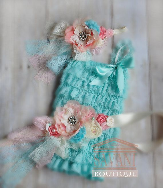 Vintage shabby chic lace set, 3 pieces aqua and coral lace romper set. Lace Petti Romper , headband and belt, Baby Girl Photo Prop on Etsy, $49.99