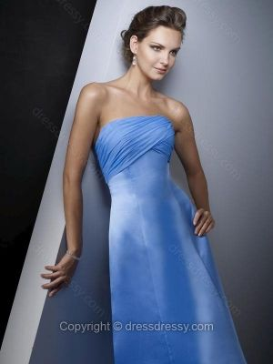 A-line Strapless Satin Chiffon Floor-length Ruched Bridesmaid Dresses -$85.89