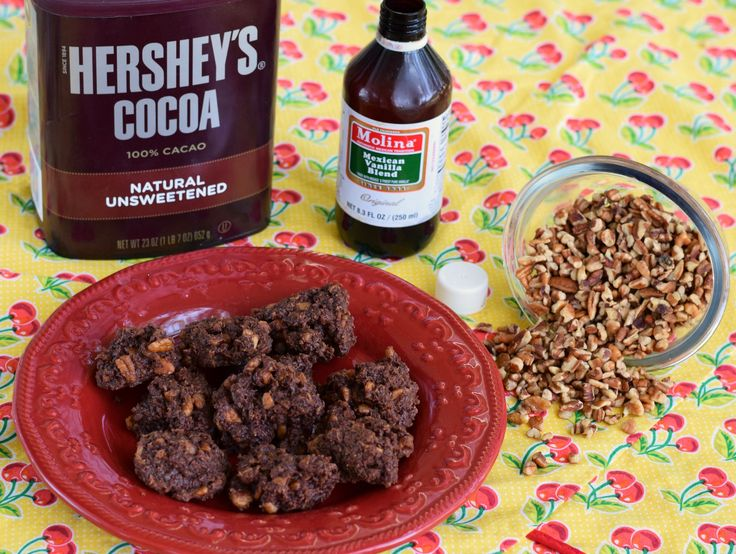 Low Carb Chocolate No Bake Cookies (keto) - Swerve, heavy cream, butter, coconut, pecans, vanilla and cocoa powder