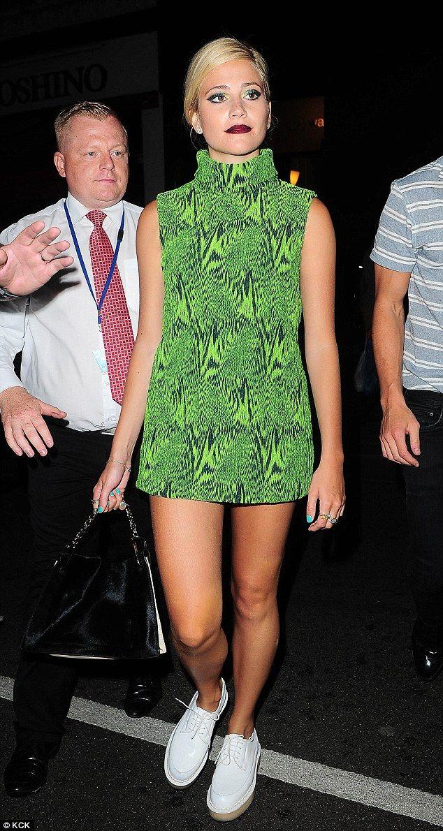 Pixie Lott.. Heohwan Simulation Fall 2014 Roll-neck Mini-dress, and Purified X George Cox flat-form brogues..