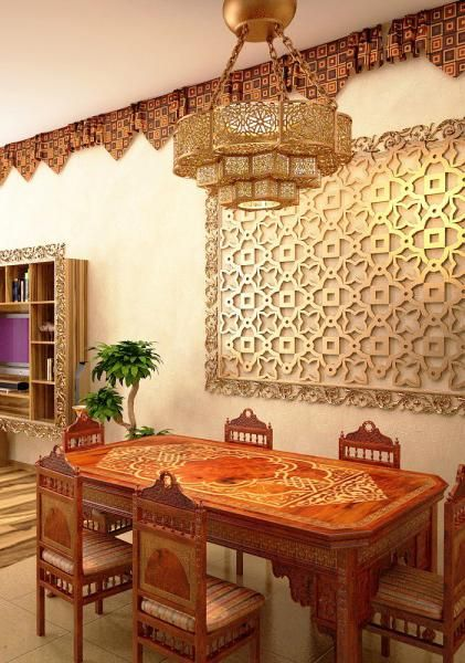 moroccan interior design style, room colors, furniture and decor accessories in moroccan style