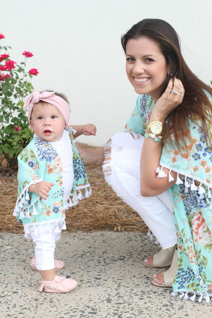 A bright/light colored kimono paired with white jeans or shorts. GORGEOUS look. I don't know that you can find a matching kimono but you could find a color shirt for them that coordinates with what you have on.