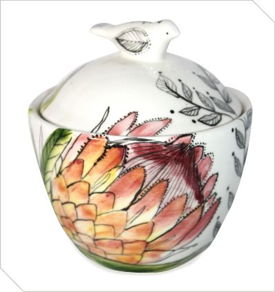 Hand-made and hand-painted Protea sugar bowl by Freakalee, Port Elizabeth - South African Design