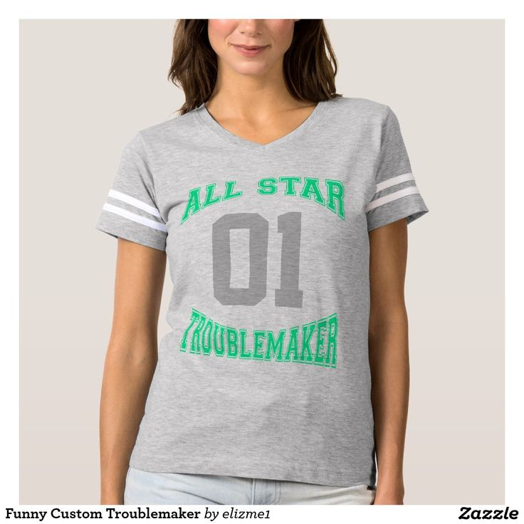 "Funny Custom Troublemaker T-shirt Let them know who you are with this funny football shirt! ""All Star Troublemaker"" is printed on the front in trendy neon mint green with your number in gray, and your custom name appears on the back."