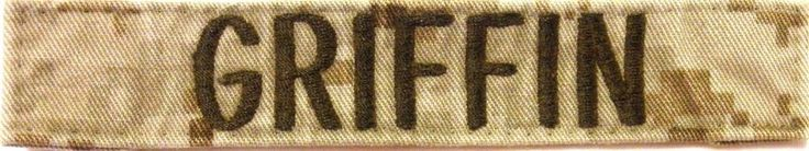Military Name Tape -  U S Army - Desert Camo -  Name  GRIFFIN - Used