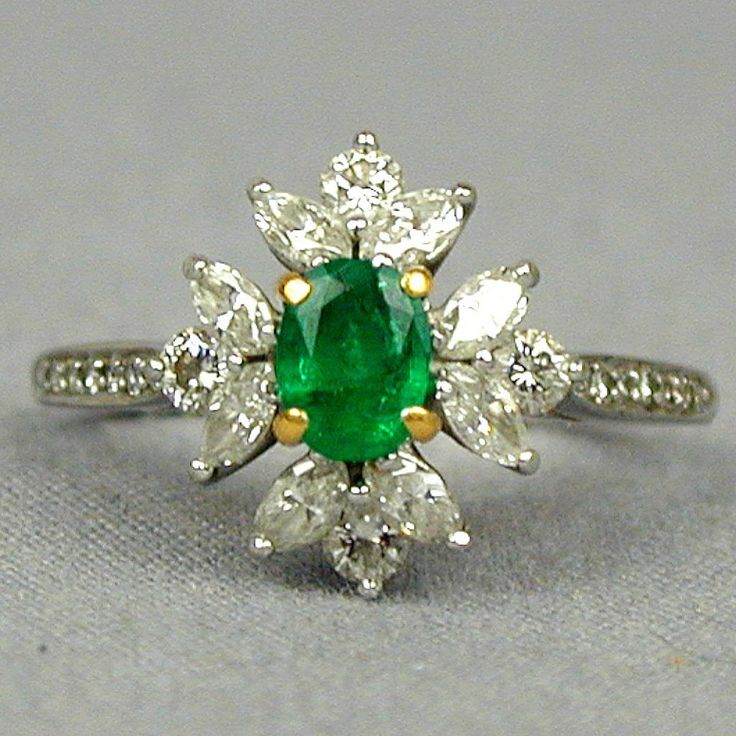 Vintage Tiffany & Co. Emerald Diamonds Platinum Ring                                                                                                                                                                                 More