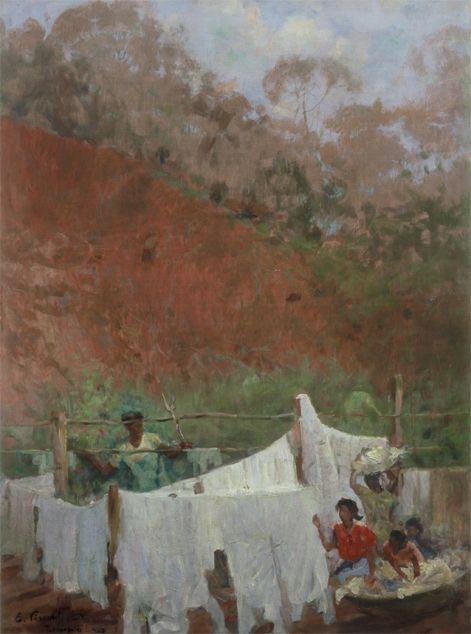 """Roupa Estendida"".  (1943). (by Eliseu Visconti)."