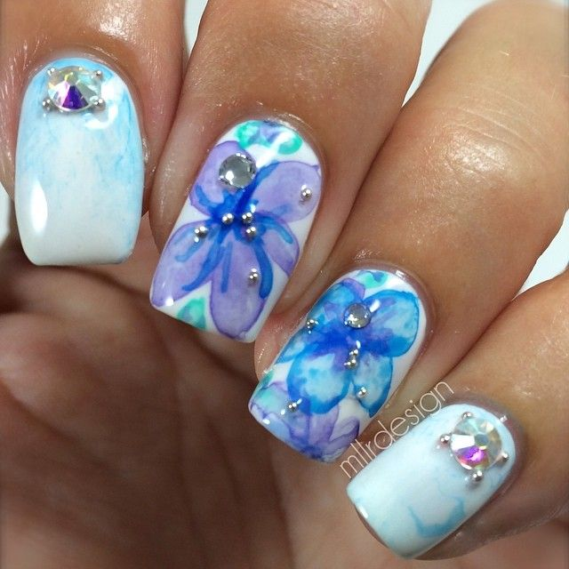 water color nails ideas