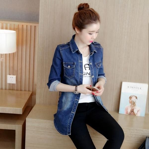 LadyIndia.com #Imported Winter Wear, 2016 Autumn New Women 'S Blouse Fashion Korean Denim Jacket Women' S Long, Imported Winter Wear, https://ladyindia.com/collections/western-wear/products/2016-autumn-new-women-s-blouse-fashion-korean-denim-jacket-women-s-long